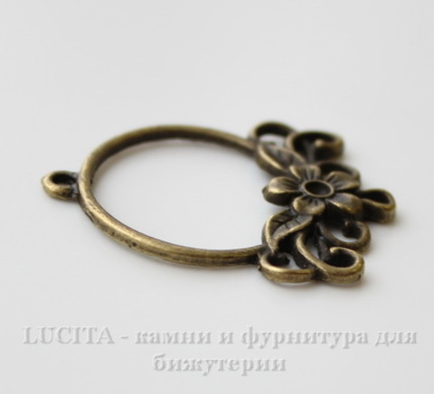 "Коннектор ""Цветочек"" 34х27 мм (цвет - античная бронза) ()"