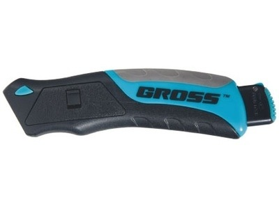 Нож,рем-монтаж,трехкомпонентная рукоятка,кнопочный авто выброс/возврат лезвия,175 мм +5 з.л Gross 78879