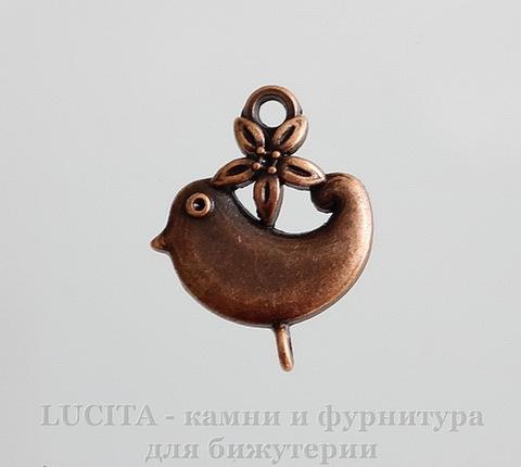 """Коннектор """"Птичка с цветком"""" (1-1) 22х18 мм (цвет - античная медь)"""