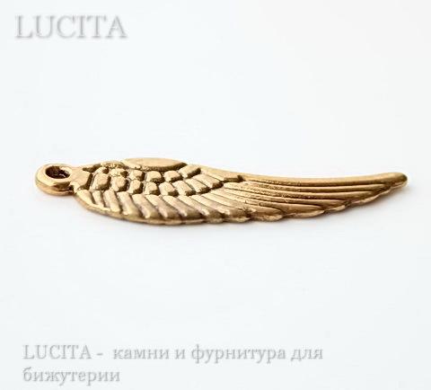 """Подвеска """"Крыло"""" 30х9 мм (цвет - античное золото) ()"""