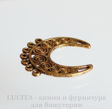 """Коннектор """"Полумесяц"""" (2-7) 28х27 мм (цвет - античное золото)"""