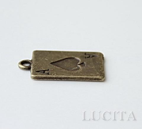 """Подвеска """"Пиковый туз""""  (цвет - античная бронза) 21х13 мм ()"""