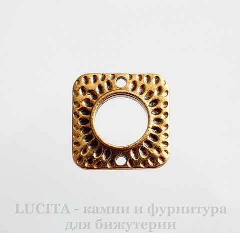 "Коннектор ""Квадрат"" (цвет - античное золото) 18х18 мм"