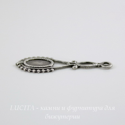 Сеттинг - основа - подвеска для камеи или кабошона 6х4 мм (оксид серебра) ()