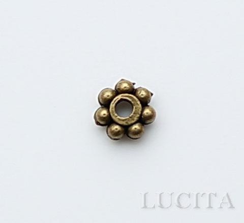 Бусина металлическая - спейсер (цвет - античная бронза ) 4 мм, 10 штук ()