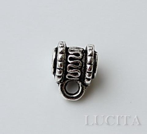 Бейл с волнистым узором 10х8 мм (цвет- античное серебро) ()