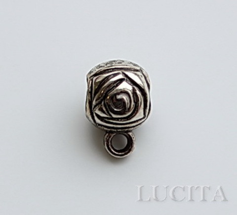 """Бейл """"Розы"""" 12х7 мм (цвет - античное серебро)"""