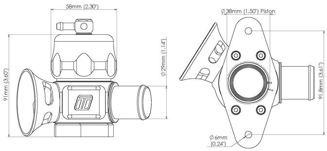 схема Blow off Turbosmart Dual Port Перепускной байпас клапан