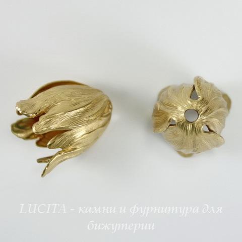 Винтажный декоративный элемент - шапочка в виде тюльпана 20х15 мм (цвет - латунь) ()