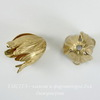 Винтажный декоративный элемент - шапочка в виде тюльпана 20х15 мм (цвет - латунь)