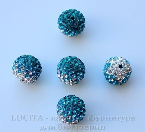 Бусина для шамбалы с фианитами , цвет - морской волны + голубой + белый, 12 мм