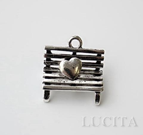 """Подвеска 3D  """"Скамейка с сердцем"""" (цвет - античное серебро) 20х19 мм ()"""