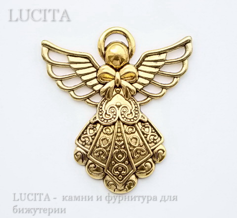 "Подвеска ""Ангел"" (цвет - античное золото) 42х40 мм ()"
