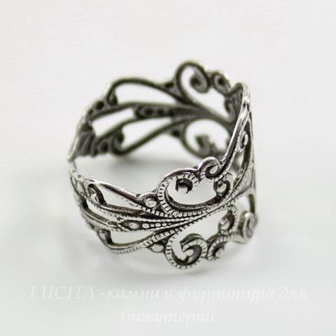 Винтажная основа для кольца  (филигрань) (оксид серебра) ()