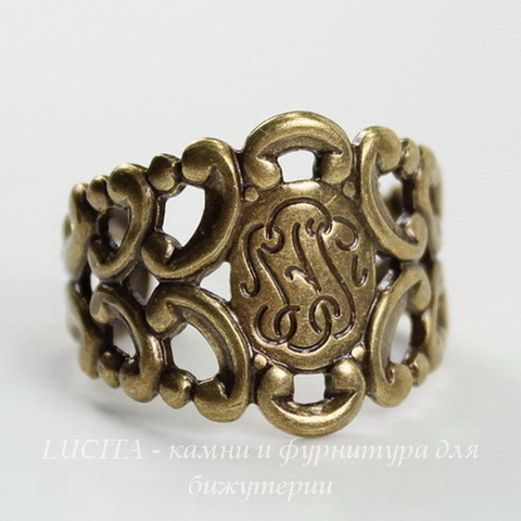 Винтажная основа для кольца с узором на площадке (оксид латуни) ()