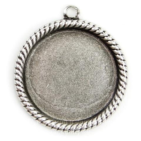 """Сеттинг - основа - подвеска """"Плетенка"""" для камеи или кабошона 15 мм (оксид серебра) ()"""