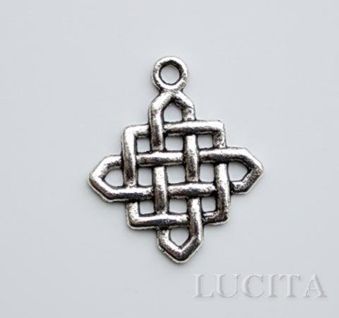 """Подвеска """"Китайский узел"""" (цвет- античное серебро) 25х21 мм"""