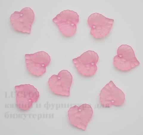 Акриловый листик розовый 15х15 мм ,10 штук