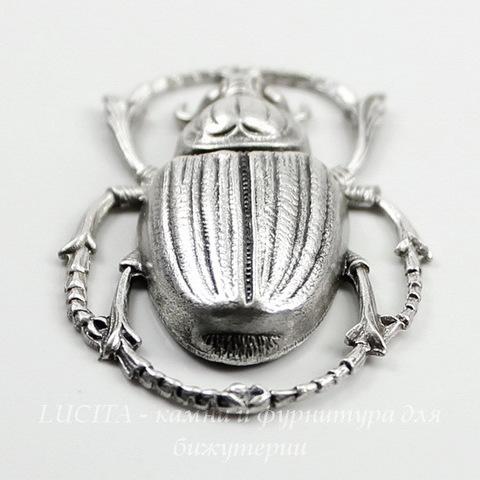 """Винтажный декоративный элемент - штамп """"Скарабей"""" 43х27 мм (оксид серебра) ()"""