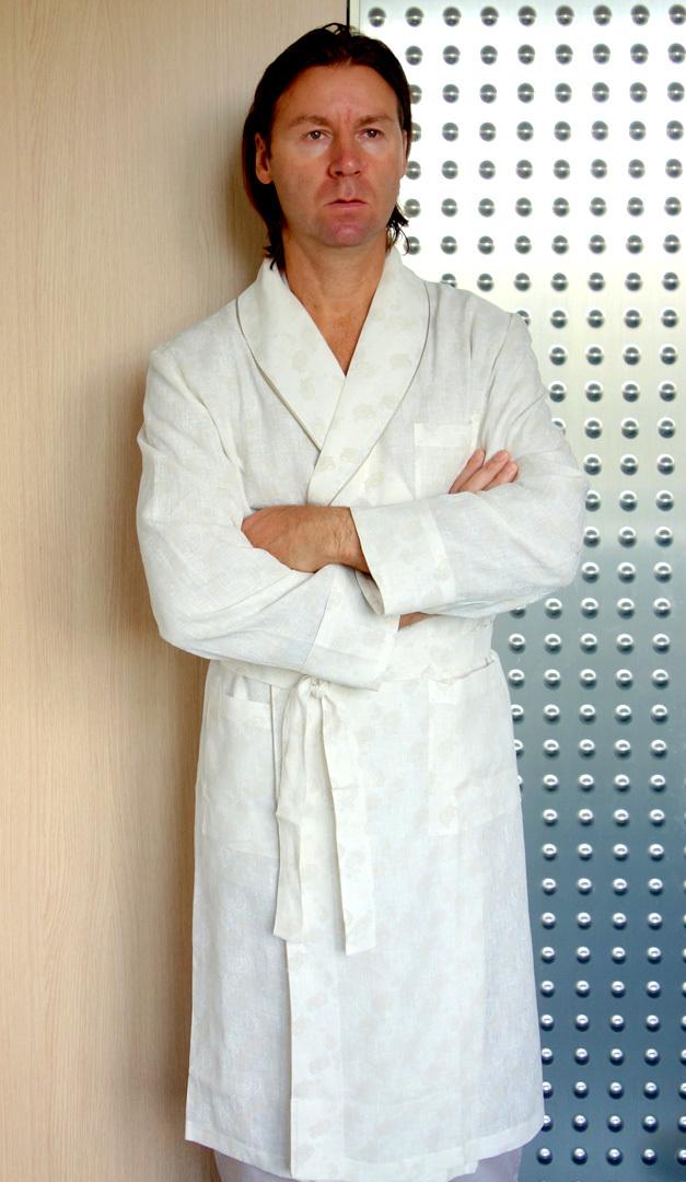Льняной мужской халат B&B (Мужские халаты)