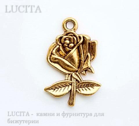 """Подвеска """"Роза"""" (цвет - античное золото) 26х18 мм ()"""