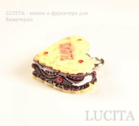 """Подвеска-тортик """"Love"""" 18х17 мм (цвет - античное серебро) ()"""