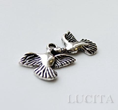 """Подвеска """"Влюбленные голуби"""" (цвет - античное серебро) 25х12 мм ()"""