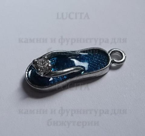 """Подвеска металлическая с эмалью """"Пляжный тапочек"""" 19 мм (цвет - платина)"""