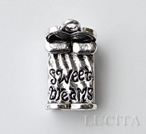 """Подвеска """"Кровать"""" (цвет - античное серебро) 25х15 мм ()"""