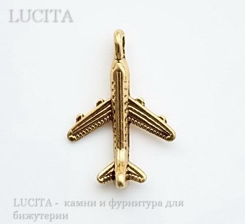 """Подвеска 3D """"Самолет"""" 20х15 мм (цвет - античное золото) ()"""