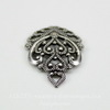 Винтажный декоративный элемент - подвеска филигранная 17х12 мм (оксид серебра)