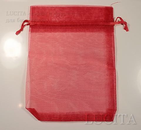 Подарочный мешочек из органзы красный, 17х12,5 см