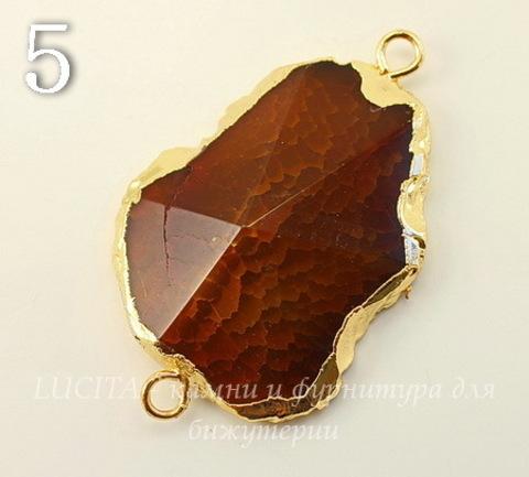 Коннектор (1-1) Агат с огранкой с фольгой (цвет - золото) (№5 (49х31 мм))