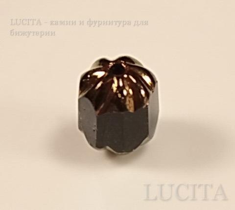 """Бусина с огранкой """"Антик"""" (цвет- черный с золотом) 8х6 мм , 10 штук ()"""