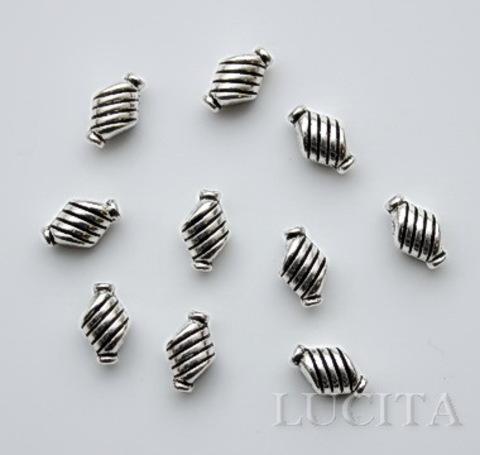 """Бусина металлическая """"Полосатая"""" 10х6 мм (цвет - античное серебро), 10 штук ()"""
