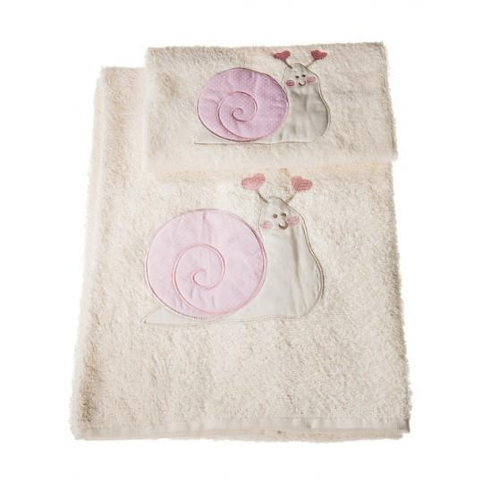 Полотенца Набор полотенец 2 шт Old Florence Lumaca с розовым бежевый detskie-polotentsa-mahrovye-lumaca-bezhevye-s-rozovym-ot-old-florence-italiya.jpg