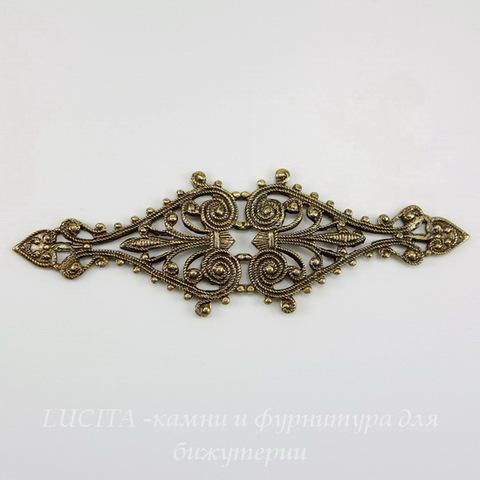 Винтажный декоративный элемент - филигрань 68х21 мм (оксид латуни)