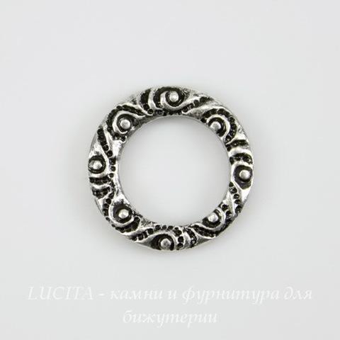 Винтажный декоративный элемент - коннектор Кольцо 10 мм (оксид серебра)