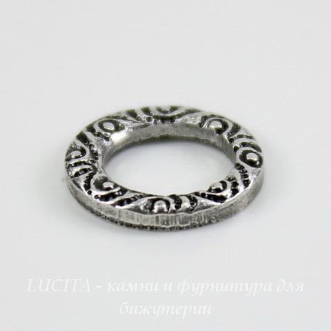 Винтажный декоративный элемент - коннектор Кольцо 10 мм (оксид серебра) ()