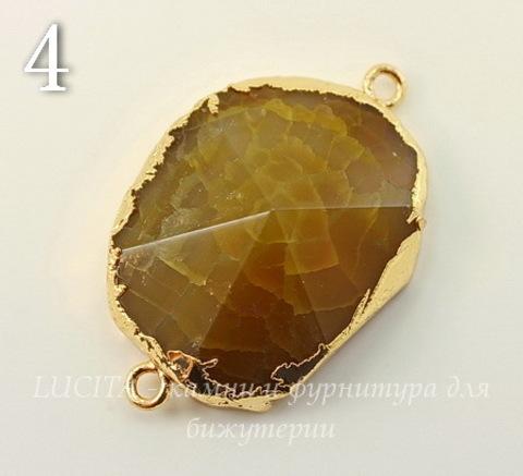 Коннектор (1-1) Агат с огранкой с фольгой (цвет - золото) (№4 (37х24 мм))