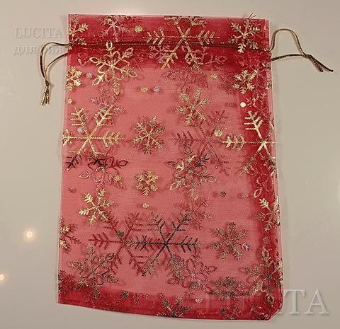 """Подарочный мешочек из органзы """"Золотые снежинки"""" красный, 17х12 см"""