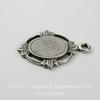 """Сеттинг - основа - подвеска """"Листики"""" для камеи или кабошона 8х6 мм (оксид серебра)"""
