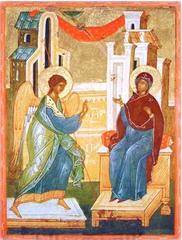 Благовещение Пресвятой Богородицы. Копия иконы XV века на доске.