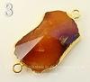 Коннектор (1-1) Агат с огранкой с фольгой (цвет - золото) (№3 (47х24 мм))