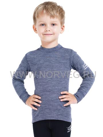 Термобелье футболка Norveg Soft  детская с длинным рукавом синяя