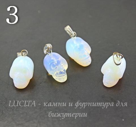 Подвеска Череп, 14х13х10 мм (№3 (Лунный камень))