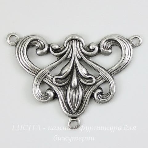 Винтажный декоративный элемент - коннектор (1-2) 30х21 мм (оксид серебра)