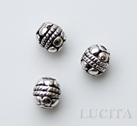 """Бусина металлическая """"Цветочки"""" (цвет - античное серебро) 5 мм , 10 штук"""