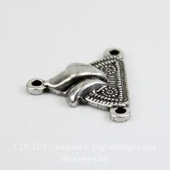 Винтажный декоративный элемент - коннектор (1-2) 15х13 мм (оксид серебра)