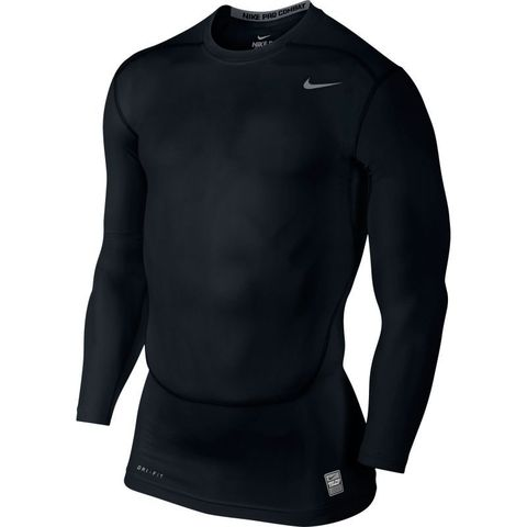 Футболка компрессионная Nike Hypercool Comp LS Top /Рубашка компрессионная беговая чёрная